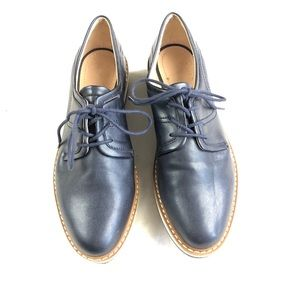 Zara woman Oxford platform lace up shoe blue 6.5